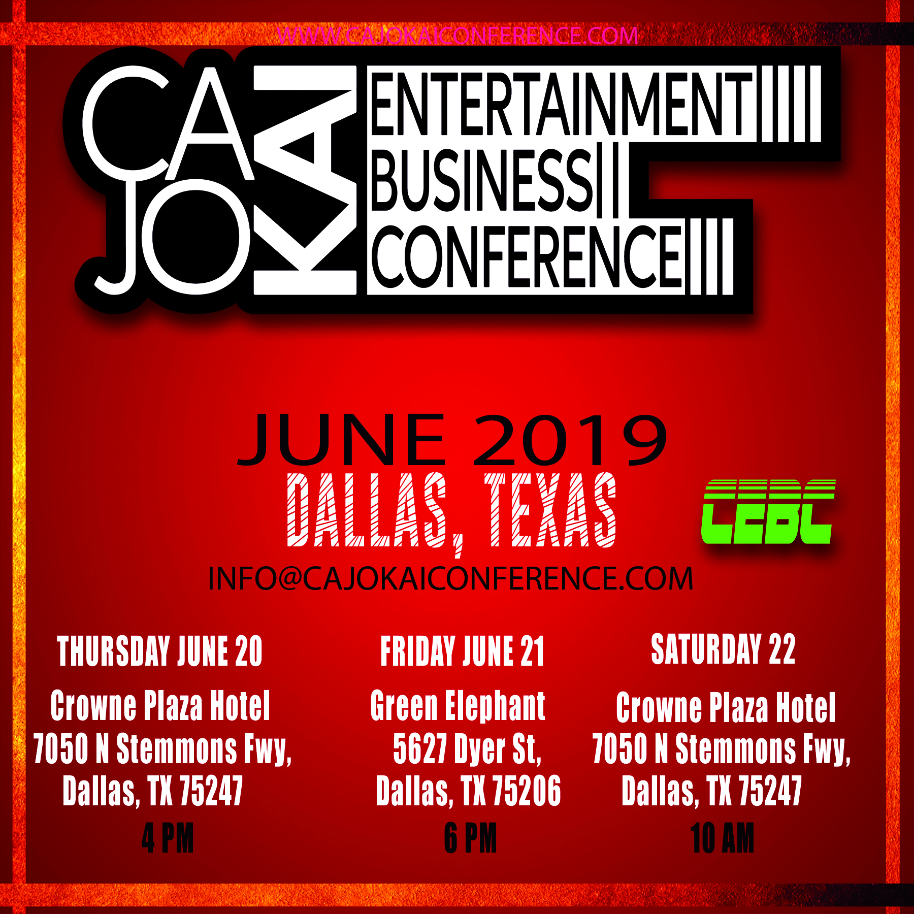 [Event] CaJoKai Entertainment Business Conference (CEBC) – June 20 thru 22, 2019- Dallas Texas