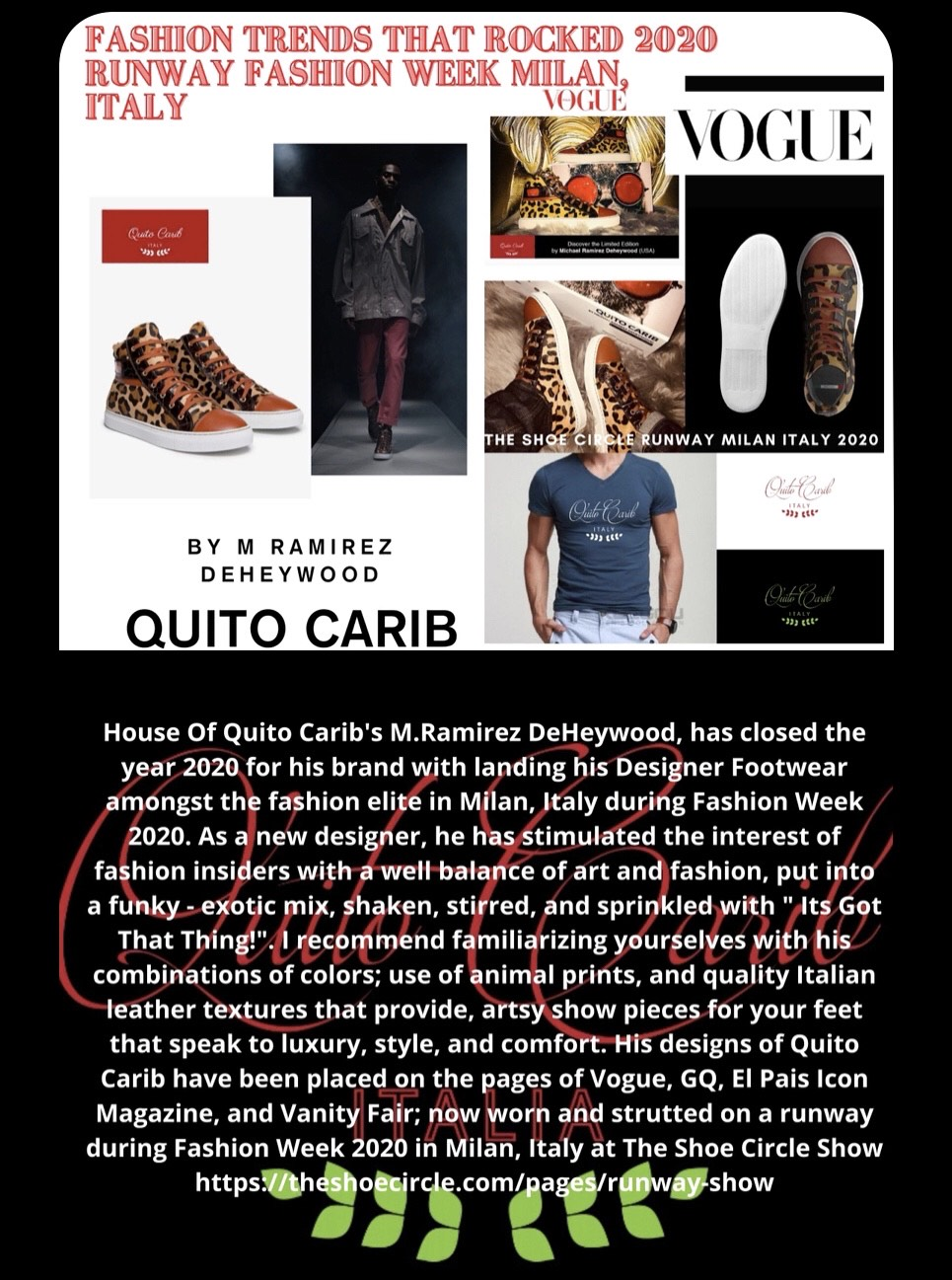 House Of Quito Carib Italian custom crafted shoe featured on Runway at Fashion Week Milan, Italy